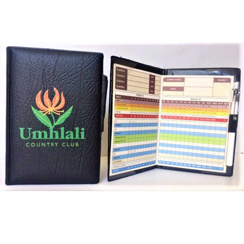 Accesories Scorecard Holder in Black Leatherette with tee and pencil