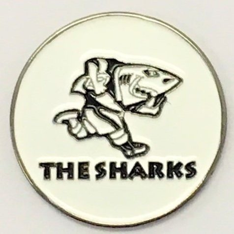 SHARKS Custom Die Struck 24mm Ball Marker Disc e1559894656766